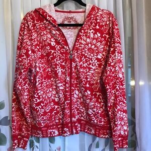 Red and white Oleg Cassini hoodie